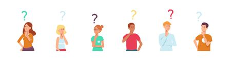 vector cartoon people with questions set. Young cute women , men thinking. Male female characters standing thoughtful pose holding chin questions above head. vector illustration Ilustrace