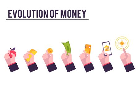 Stages of financial system and evolution of money. Money, payment methods evolution from barter to bitcoin, vector illustration. Gold, coin, banknotes and cards, electronic money and bitcoin. Archivio Fotografico - 128171767