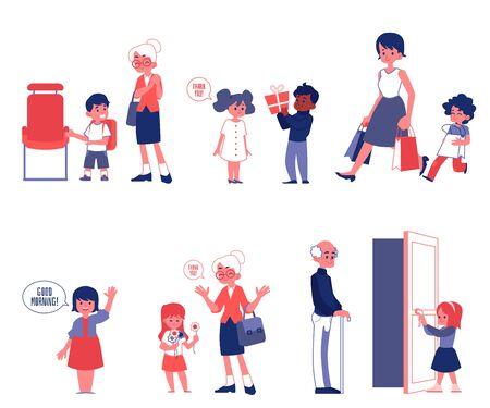 Bambini buone maniere e politica insieme delle illustrazioni di vettore piatto isolato su sfondo bianco. Bambini che aiutano e danno modo agli adulti di scene di buon comportamento. Vettoriali