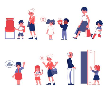 Kids good manners and polity set of flat vector Illustrations isolated on a white background. Children helping and giving a way to adults scenes of good behavior.