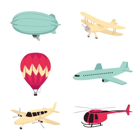Vector aviation transportation aircrafts set. Vintage dirigible airship or zeppelin, propeller plane, modern passenger airliner, hot air balloon and helicopter. Isolated illustration Çizim