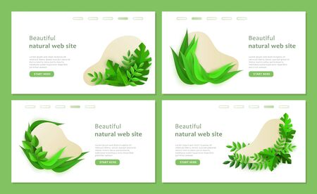 A set of eco templates for a beautiful natural web site. Bio landing page template set with green plants in paper style, vector illustration on gray background. Illustration