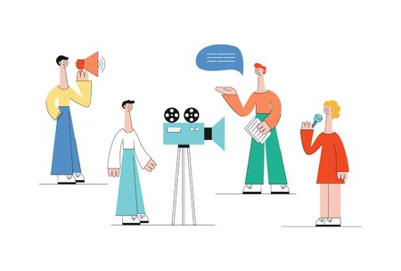 Video marketing web concept. A group or team of people, men and women, make a video with a camera, loudspeaker and microphone. Flat vector isolated illustration. Ilustracja