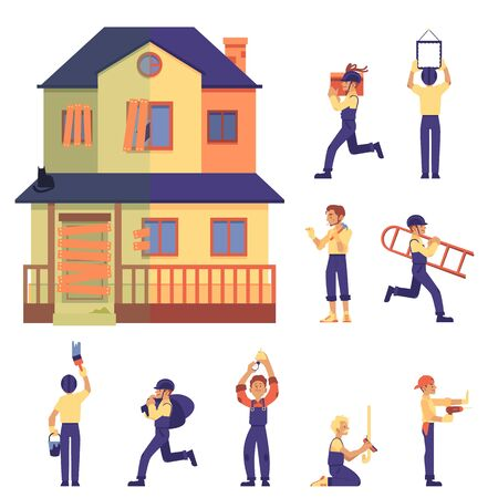 Set of home renovation with house before and after, workers and labor in flat cartoon style, isolated vector illustration on white background. Old two-storey flat home renovated into cute cottage.