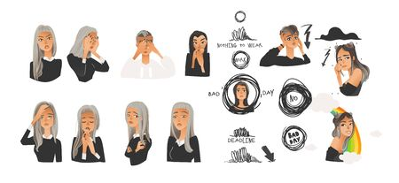 Vector beautiful young women with negative emotions and symbols set. Blonde and brunette girl with sad, angry, terrified and exhausted facial expression collection. Isolated illustration