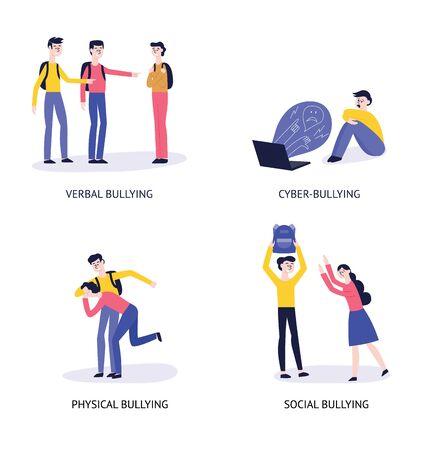 4 tipi di bullismo: verbale, cibernetico, fisico, sociale. Un insieme di personaggi e situazioni con bullismo e violenza personale. Illustrazione piana di vettore.