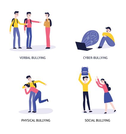 4 types of bulling: verbal, cyber, physical, social. A set of characters and situations with bullying and personal violence. Vector flat illustration.