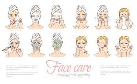 Fasi della donna vettoriale di applicazione della maschera facciale e pulizia del wace dopo il set di trucco. Trattamento della pelle del viso, terapia. Giovane donna con asciugamano, collezione di design salone spa. Illustrazione cosmetica per la cura della pelle Vettoriali