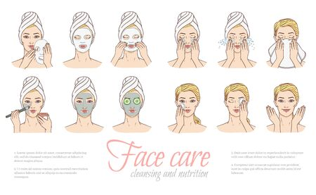 Vector woman stages of applying facial mask and cleaning wace after make-up set. Face skin treatment, therapy . Young woman with towel, spa salon design collection. Cosmetic skincare illustration 矢量图片