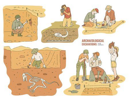 Set di archeologi maschi e femmine che scavano artefatti storici illustrazione vettoriale isolato su bianco. Scienziati che esaminano pitture rupestri e scavano nel terreno.
