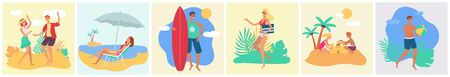 A set of tanned people, men, women and children rest in the summer on a tropical beach on vacation or on holiday. Tropical summer holiday concept set, vector flat beach illustration with people. Çizim