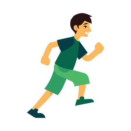 Young man in sportswear running isolated on white background - side view of active boy doing cardio training jogging in flat cartoon vector illustration for healthy and sporty lifestyle concept. 向量圖像