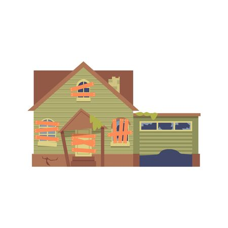 Old abandoned green house with boarded up windows, a door in flat cartoon style. Isolated vector illustration on white background. Flat house, cottage with garage.