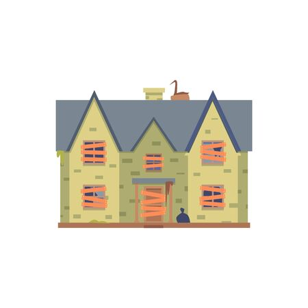 Old abandoned green double decker house with boarded up windows and a door, vector illustration in flat cartoon style.