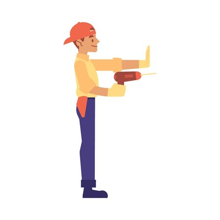 Repairman and worker repairs or builds with a drill in flat cartoon style, isolated vector illustration on white background. Flat worker in a yellow shirt and blue pants holding a drill.