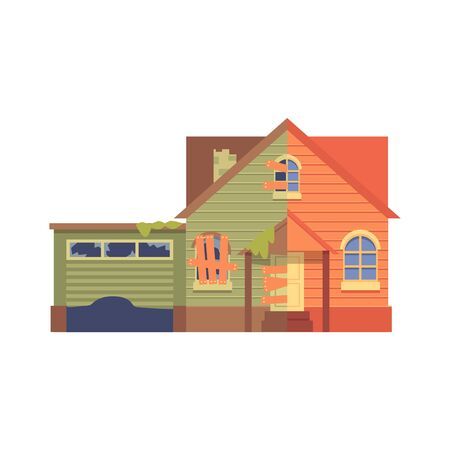 Home renovation with garage flat cartoon style, before and after, isolated vector illustration on white background.