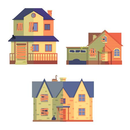 Set of home renovation in flat cartoon style, before and after, isolated vector illustration on white background. Old two-storey flat home renovated into cute cottage.