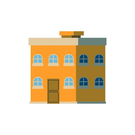 Yellow double decker, two-storied house in flat cartoon style, vector illustration with shadow on white background. Apartment house with a flat roof. Stock Illustratie