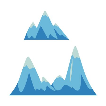 Set of rocks and mountains icons, elements with peaks and hills. Vector flat illustration on white background. Set of peak and hill in flat cartoon style. Stock Vector - 127276713