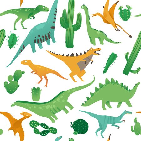 Seamless pattern with cute cartoon dinosaurs in flat style. Prehistorical dinosaurs and plants on a seamless pattern. Isolated vector illustration on white background. Illustration