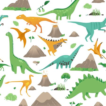 Seamless pattern with cute cartoon dinosaurs, plants and volcanoes in flat style. Isolated vector illustration on white background.