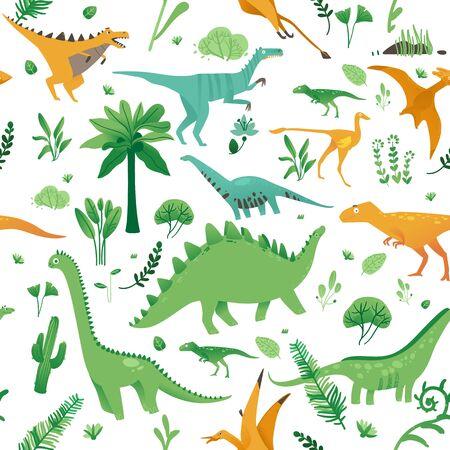 Patrón sin fisuras con lindos dinosaurios de dibujos animados, plantas y estilo plano, ilustración vectorial. Ilustración de vector