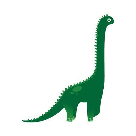 Große grüne Cartoon-Dinosaurierzeichnung für Kinder, süßer Dino mit langem Hals und Stacheln lächelnd. Flache Vektorillustration für Kinder lokalisiert auf weißem Hintergrund
