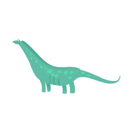 Cute green dinosaur smile, friendly cartoon dino with long neck drawing for kids - flat isolated vector illustration on white background