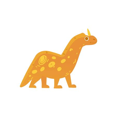 Cute yellow cartoon dinosaur with one horn. Friendly smiling dino with four feet and long tail - vector illustration isolated on white background 일러스트