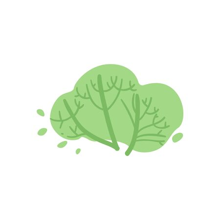 Cute green cartoon bush with branches and twigs, summer foliage element - flat vector illustration isolated on white background Illustration