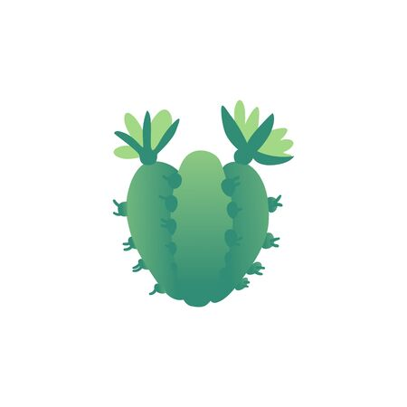 Small green spiky cacti with flowers, thorns and spikes, joined garden plants from desert flora. Simple vector illustration isolated on white background. Ilustração