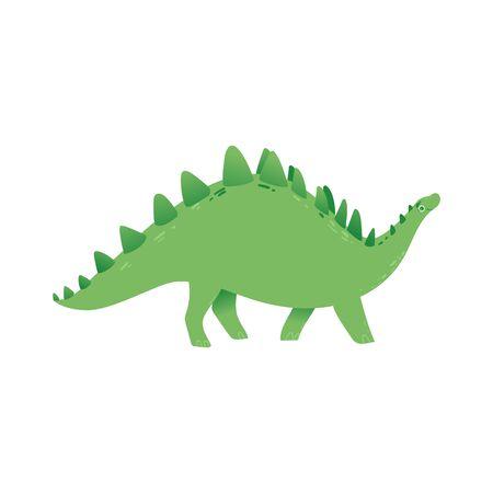 Vector stegosaurus dinosaur cartoon icon. Prehistoric extinct herbivore dino. Cute jurassic monster with wings. Ancient predator, paleontology and archeology design element. Ilustração