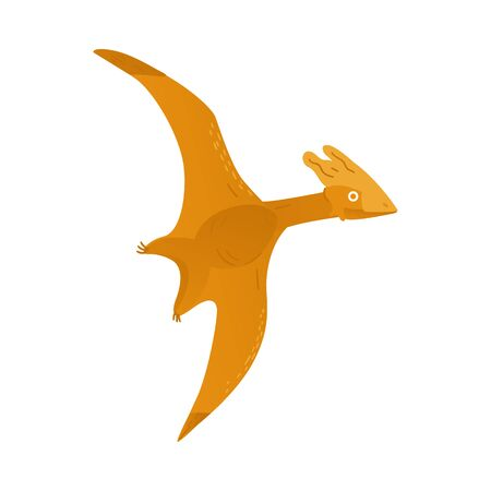 Vector flying dinosaur cartoon icon. Prehistoric bird, pteranodon or pterodactyl extinct dino. Cute jurassic monster with wings. Ancient predator, paleontology and archeology design element.