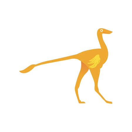 Vector ornitomimus cartoon icon. Prehistoric extinct dino. Cute jurassic monster with wings. Ancient predator, paleontology and archeology design element.