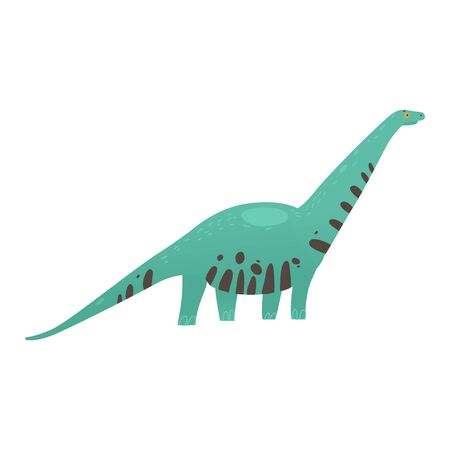 Cute colorful dinosaur long necked and striped skin cartoon flat illustration in childish style isolated on white background. The prehistorical animal or monster reptile icon. Illustration