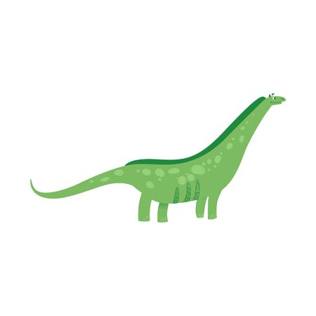 Cute green dinosaur with long neck and tail cartoon flat illustration in childish style isolated on white background. The prehistorical animal or monster reptile icon.