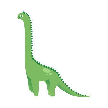 Cute green dinosaur long necked cartoon flat illustration in childish style isolated on white background. The prehistorical animal or monster reptile icon. Illustration