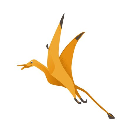 Pteranodon cute dinosaur with wings flat cartoon vector illustration isolated on white background. Prehistoric animal creature or reptile able to fly in childish style. Illustration