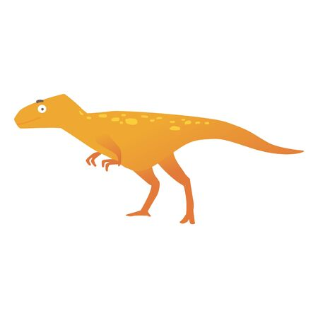 A cute predatory brown dinosaur or dino in a cartoon flat style. Dinosaur velociraptor from the Jurassic period, isolated vector illustration on white background.