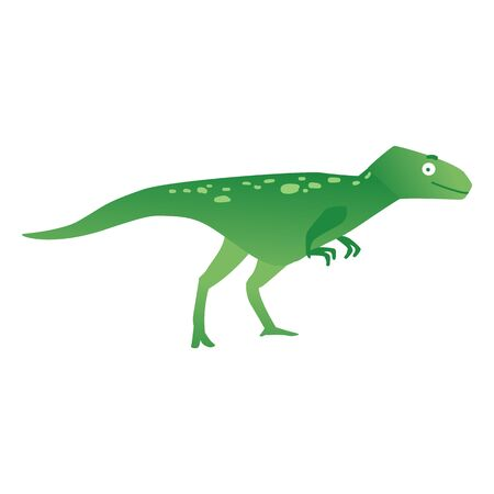 Green predatory dinosaur or dino, funny prehistoric animal velociraptor. Flat cartoon vector illustration of dinosaur velociraptor on isolated background.