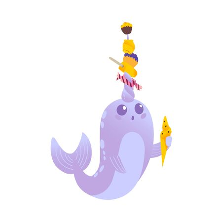 Surprised and cute cartoon purple and blue narwhal with ice cream, candy and sweets on his horn, isolated vector illustration on white background. Illustration
