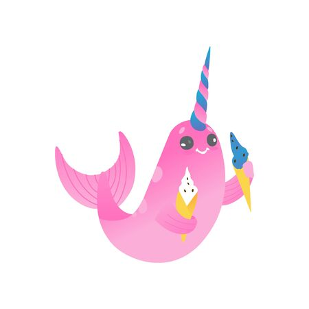 Cute cartoon pink narwhal with two ice creams. Cute sea unicorn with gradient, cartoon animal, isolated vector illustration of narwhals on white background. Illustration