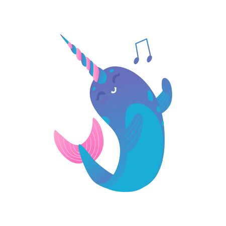 Cute cartoon pink and blue narwhal with gradient sings and dances, isolated vector illustration on white background.