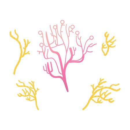 Vector tropical tubular coral icon set. Aquatic reef underwater plant. Soft colorful abstract coral. Hand drawn ocean and sea flora and fauna. Isolated illustration Ilustração