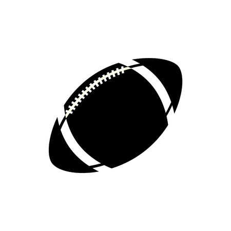 Single ball for rugby and american football isolated on white background. Black silhouette of a ball, an icon of sport game, rugby. Vector illustration. Illustration