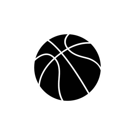 Single ball of basketball, vector icon illustration isolated on white background. Black silhouette of a ball, an icon of sport game, basketball.