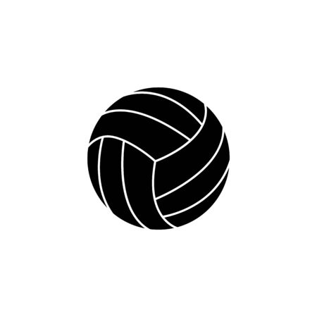 Single ball for volleyball isolated on white background. Black silhouette of a ball, an icon of sport game, volleyball. Vector icon illustration.