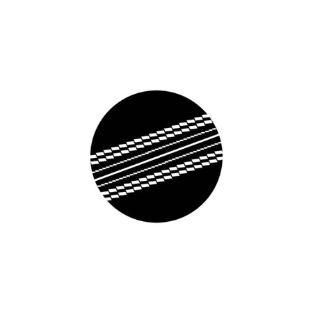 Single ball of cricket, vector icon illustration isolated on white background. Black silhouette of a ball, an icon of sport game, cricket. Ilustração