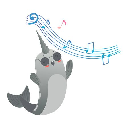 Cute cartoon gray narwhal in black glasses sings or listens to music. Cute and happy sea unicorn with gradient, cartoon animal and narwhal. Isolated vector illustration on white background. Foto de archivo - 128171856