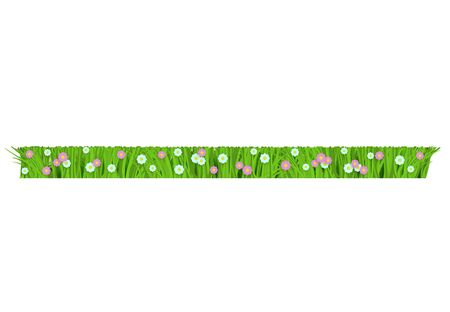 Mowed and trimmered floral green grass, lawn border on isolated background in realistic style. Grass with meadow flowers, daisies. Vector illustration with flowers.  イラスト・ベクター素材